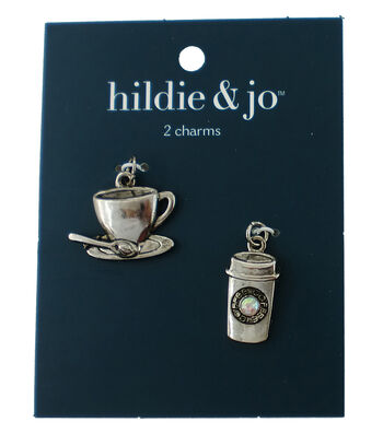 hildie & jo 2 pk Coffee Charms-Silver