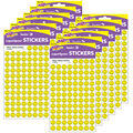Neon Yellow Smiles superSpots Stickers 800 Per Pack, 12 Packs
