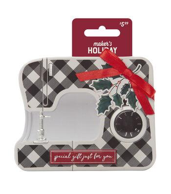 Maker's Holiday Tin-Black Plaid Sewing Machine Mistletoe