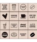 Kelly Purkey Mounted Rubber Stamp Set 3\u0022X3\u0022-Coffee & Donuts