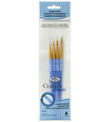 Royal & Langnickel Round Brush Set 4pk-Golden Taklon