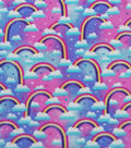 Anti-Pill Plush Fleece Fabric-Clouds and Rainbows