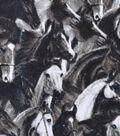 Snuggle Flannel Fabric -Black & White Wild Horses