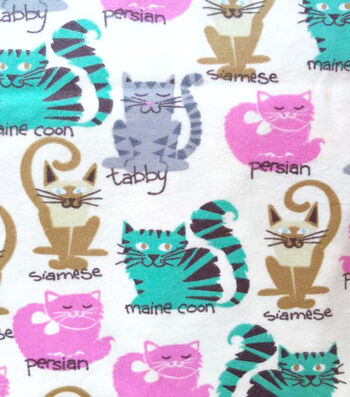 """Snuggle Flannel Fabric 42""""-Kitty Breeds"""