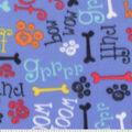 Blizzard Fleece Fabric-Grrrr & Ruff Words on Blue