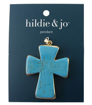 hildie & jo 1.88''x1.5'' Cross Gold Pendant-Turquoise, , hi-res