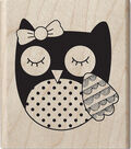 Hampton Art Hot Fudge 2\u0027\u0027x2.5\u0027\u0027 Mounted Stamp-Owl with Bow