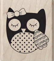 Hampton Art Hot Fudge 2''x2.5'' Mounted Stamp-Owl with Bow, , hi-res
