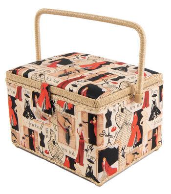 Rectangle Sewing Basket-Vintage Sewing Motif on Beige