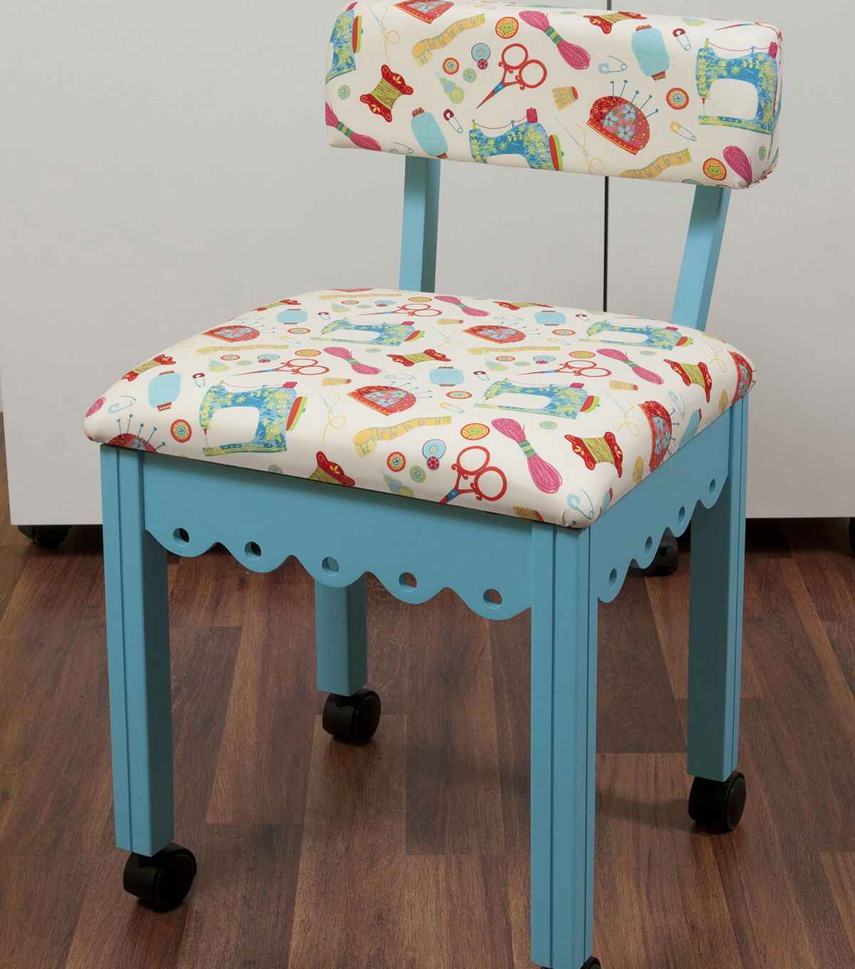 Arrow Blue Sewing Chair With Scalloped Base Sewing Notions On White