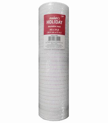 Maker's Holiday Christmas Decorative Mesh Ribbon 10''x30'-White