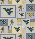 West Virginia University Mountaineers Fleece Fabric 58\u0022-Gray Block