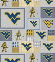 "West Virginia University Mountaineers Fleece Fabric 58""-Gray Block, , hi-res"