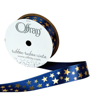 Offray Satin Ribbon 7/8''x9'-Gold Stars on Navy