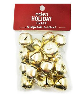 Maker's Holiday Craft Christmas 18 pk 1'' Bells-Gold