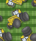 Novelty Cotton Fabric-Tractors on Plaid