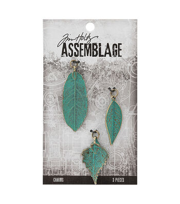 Tim Holtz Assemblage Pack of 3 Patina Leaves Charms