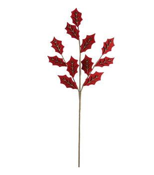 Handmade Holiday Christmas 31'' Felt Holly Spray-Red