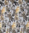 Anti-Pill Plush Fleece Fabric-Realistic Cats On Gray