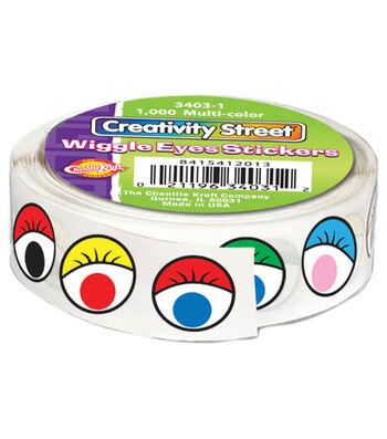 "Wiggle Eyes Stickers .5"" 1,000/Pkg-Multicolor"