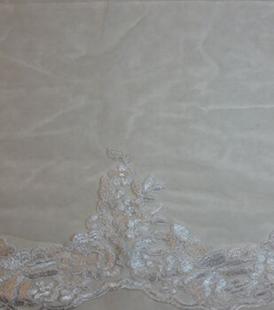 Save The Date Floral Lace Veil Fabric -Bright White