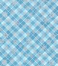 Christmas Cotton Fabric 43\u0022-Metallic Snowflake Plaid