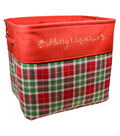 Christmas Small Soft Storage Bin-Cream & Red Plaid
