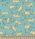 Playful Golden Retriever Print Fabric