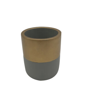 Blooming Autumn Medium Mood Cement Container-Gray & Gold