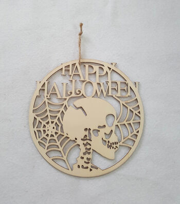 Maker's Halloween Laser Wood Hanging-Skull Happy Halloween
