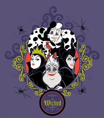 "Disney Halloween No-Sew Fleece Throw 72""-Wicked Villains"