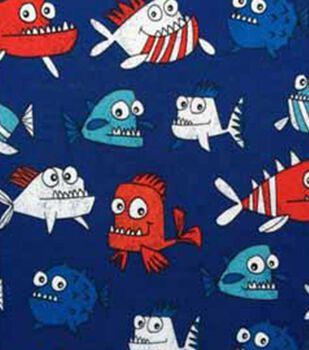 Doodles Interlock Knit Fabric 57''-Patriotic Piranhas
