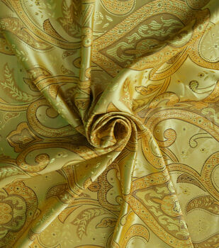Casa Embellish Brocade Fabric -Gold Large Scroll