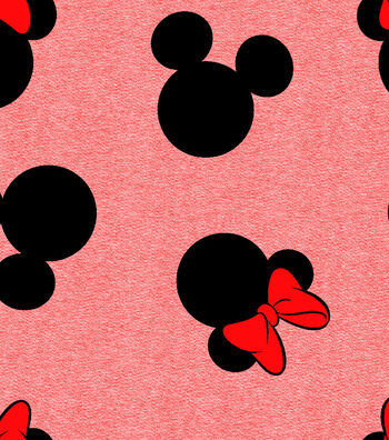 Disney Mickey Mouse Knit Fabric 58''-Mickey & Minnie Heads