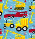 Snuggle Flannel Fabric -Red & Yellow Construction Trucks