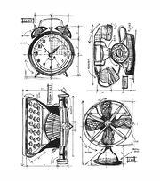 Tim Holtz Cling Rubber Stamp Set-Vintage Things Blueprint, , hi-res