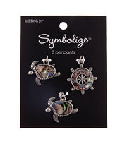 hildie & jo Symbolize 3 pk Shell & Zinc Alloy Turtle & Rudder Pendants, , hi-res