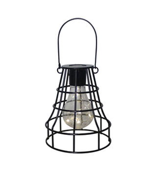 In the Garden Square Shaped Hanging Solar Lantern-Black