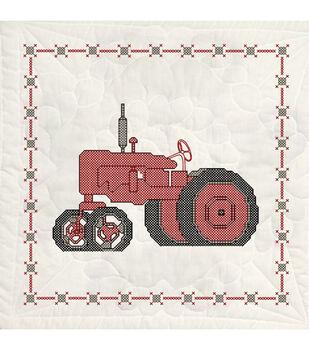 Fairway Stamped Quilt Blocks Tractor