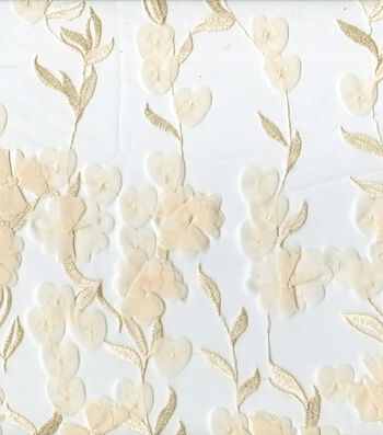 "Save The Date Mesh Fabric 57""-Eggnog Floral"