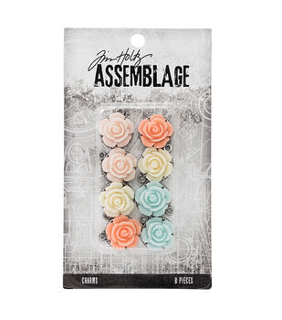 Tim Holtz Assemblage Pack of 8 Roses Charms