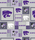Kansas State University Wildcats Fleece Fabric -Grey