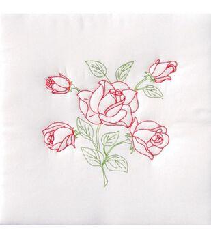 "Jack Dempsey Stmpd White Quilt Blocks 18""X18""-Long Stem Rose"
