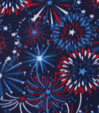 Blizzard Fleece Fabric -Fireworks Show