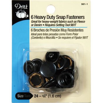 "Dritz 0.63"" Heavy Duty Snap Fasteners 6pcs Size 24 Black"