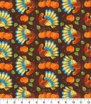 Harvest Cotton Fabric-Prancing Turkeys On Brown