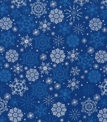 "Keepsake Calico™ Holiday Cotton Fabric 43""-Metallics Snowflake"