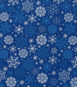Holiday Cotton Fabric -Metallics Snowflake