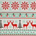 Super Snuggle Flannel Fabric-Red & Mint Deer & Snowflake