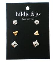 hildie & jo 3 Pair Earrings-Gold & Silver, , hi-res